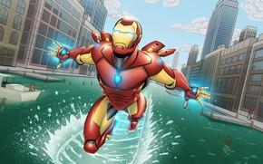 Картинка City, Iron Man, Marvel, Comics, River, Tony Stark