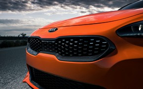 Картинка оранжевый, перед, Kia, GTS, пятидверный, Stinger, 2020, фастбэк