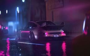 Картинка Отражение, Авто, Ночь, 911, Porsche, Машина, Дождь, Art, Porsche 911, Carrera, RSR, Synth, Game Art, …
