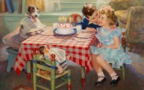 Картинка American painter, американский художник, oil on canvas, Поцелуй на день рождения, Birthday Kisses, Фредерик Сэндс …