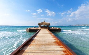 Картинка sea, pier, wood, waves, landscape