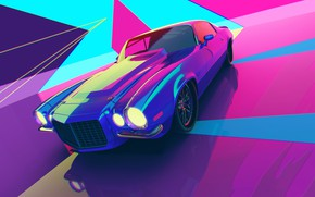 Картинка Авто, Машина, Стиль, Car, Render, Style, Neon, Рендеринг, Illustration, Explosion, 80's, Synth, Retrowave, Synthwave, New …