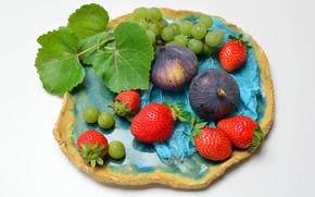 Картинка клубника, тарелка, виноград, фрукты, инжир