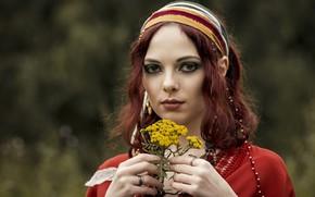 Картинка девушка, цветы, портрет