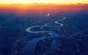Картинка закат, река, панорама, зарево
