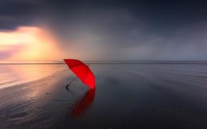 Картинка море, берег, зонт