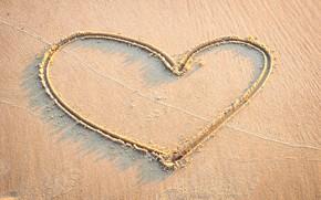 Картинка песок, море, волны, пляж, лето, любовь, сердце, summer, love, beach, sea, heart, romantic, sand