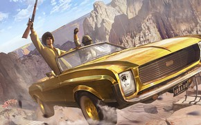 Картинка машина, горы, скорость, парень, Playerunknown's Battlegrounds, Karabiner 98k