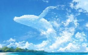 Картинка море, лето, небо, облачный кит
