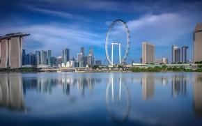 Картинка отражение, день, Сингапур, колесо обозрения