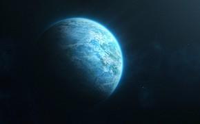 Картинка Звезды, Планета, Космос, Space, Art, by Evan Dalen, Evan Dalen, Blue Planet