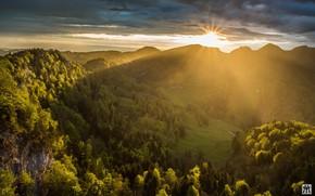 Картинка горы, восход, утро, долина