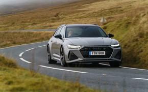 Картинка дорога, Audi, разметка, изгиб, универсал, RS 6, 2020, 2019, V8 Twin-Turbo, RS6 Avant, UK-version