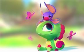 Картинка настроение, бабочка, арт, ящер, летучая мышь, детская, Nicholas Kole, Yooka Laylee