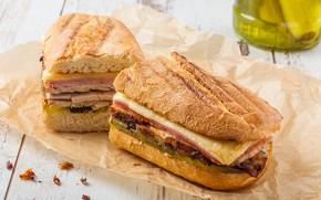 Картинка бумага, стол, сыр, хлеб, боке, фастфуд, бутерброды, ветчина, сэндвичи