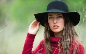Картинка девушка, портрет, шляпка