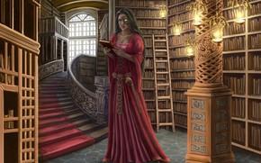 Картинка девушка, книги, библиотека, полки