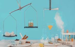 Картинка колбы, весы, scales, flasks, Dina Belenko