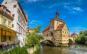 Картинка небо, солнце, деревья, река, дома, Германия, Бавария, Bamberg
