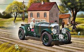 Картинка дорога, трава, деревья, дом, Bentley, Водитель, Blower, гоночная машина, 4.5L