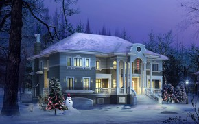 Картинка визуализация, дом, зима