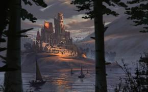 Обои горы, замок, лодки, водоём, Found Our Way Home