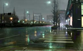 Картинка дорога, город, после дождя