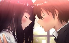 Картинка романтика, девочка, парень, двое, Hyouka