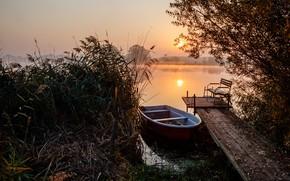 Картинка трава, пейзаж, природа, озеро, тростник, рассвет, лодка, утро, причал, мосток