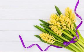 Картинка цветы, букет, желтые, yellow, flowers, гиацинты, hyacinths
