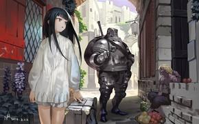 Картинка девочка, рыцарь, торговец