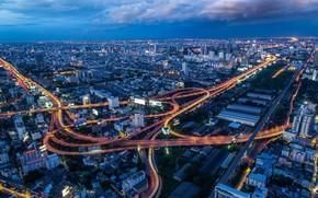 Картинка небо, город, здания, дороги, Таиланд, Тайланд, Бангкок, вид сверху
