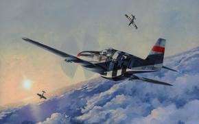 Картинка airplane, painting, aviation, ww2, P-51 Mustang