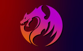 Картинка дракон, градиент, векторный рисунок