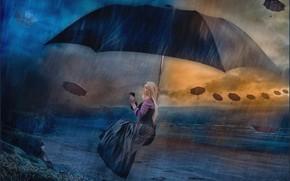 Картинка девушка, зонт, фэнтези, зонтики, фотоарт