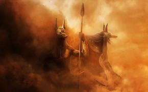 Картинка Песок, Пыль, Египет, Fantasy, Art, Фантастика, Боги, Анубис, Hosne Qanadelo, by Hosne Qanadelo, The Curse …