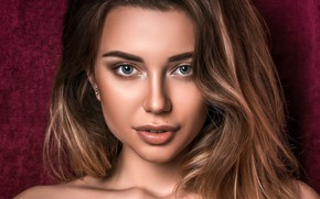 Картинка взгляд, крупный план, лицо, фон, модель, портрет, макияж, прическа, шатенка, красотка, боке, Tanya, Stanislav Maximov