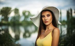 Обои грудь, вода, Девушка, шляпа, Чавдар Димитров