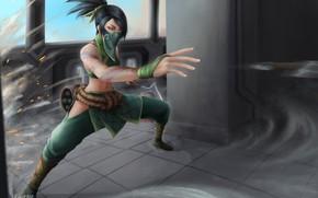 Картинка девушка, маска, ниндзя, Akali, League Of Legends