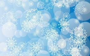 Картинка снежинки, узоры, голубой фон