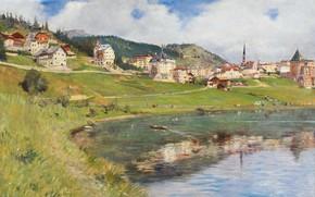 Картинка 1910, итальянский живописец, Italian painter, oil on canvas, кантон Граубюнден Швейцария, Альберто Росси, View of …
