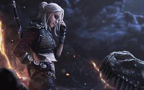 Картинка девушка, монстр, воин, фэнтези