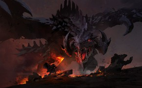 Картинка dark, fire, sword, fantasy, Dragon, horns, weapon, wings, red eyes, battle, digital art, artwork, warrior, …