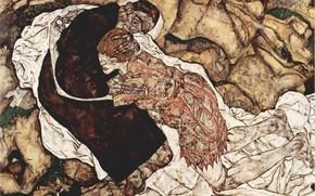 Картинка экспрессионизм, Egon Schiele, Смерть и Женщина