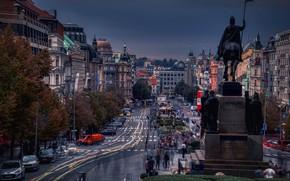 Картинка машины, улица, проспект, здания, дома, Прага, Чехия, памятник, Prague, Czech Republic, Statue of Saint Wenceslas, …