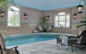 Картинка комната, интерьер, бассейн, house, зона отдыха, cool indoor pool, small pool with blue water