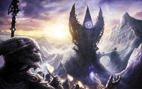Картинка лед, снег, горы, страх, мистика, зло, копье, демоны, фэнтези арт, стаи птиц, шествие с факелами, …