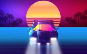 Картинка Закат, Солнце, Авто, Музыка, Машина, Звезда, Стиль, Фон, 80s, Sun, Style, Суперкар, Neon, Countach, Illustration, …