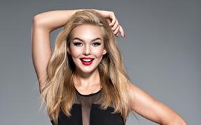 Картинка девушка, улыбка, модель, макияж, блондика, локоны волос, Valua Vitaly