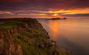 Картинка море, небо, солнце, закат, скалы, берег, вид, островок